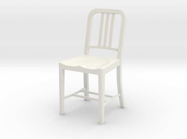 1:12 Metal Chair in White Strong & Flexible