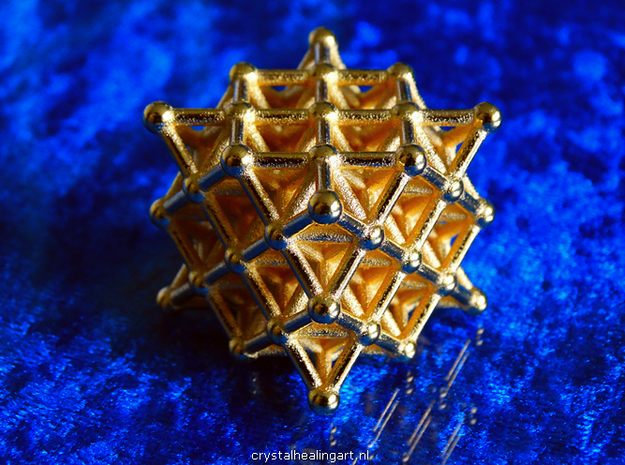 64 Tetrahedron Grid - Isotropic Vector Matrix in Polished Gold Steel