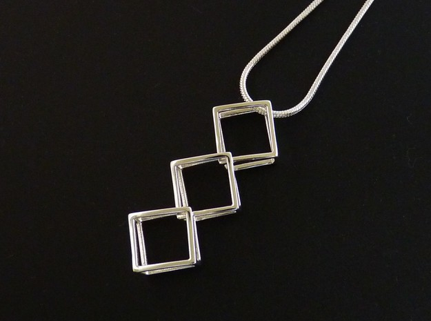3 Parts Interlocking Swing Pendant in Polished Silver (Interlocking Parts)