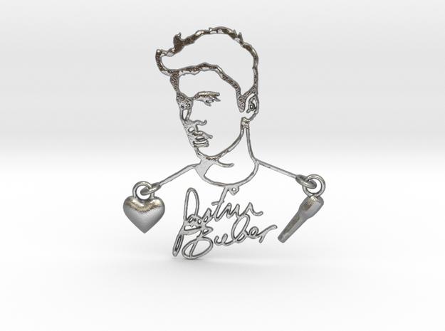 Justin Bieber Fan Pendant in Interlocking Raw Silver