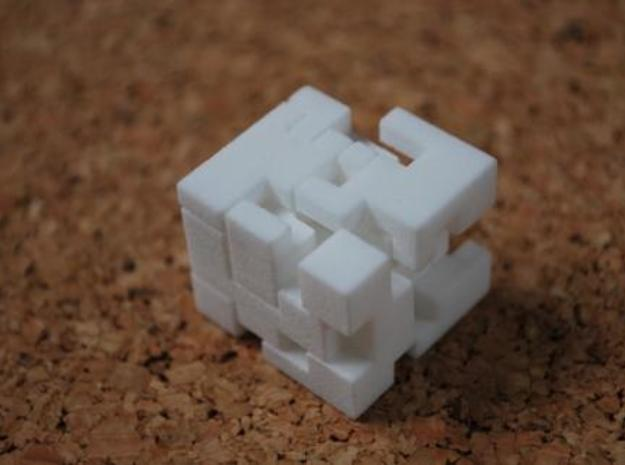Cubed Burr II in White Natural Versatile Plastic