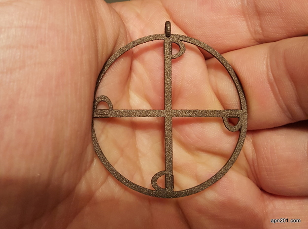Four Swords -pendant in Polished Bronzed Silver Steel