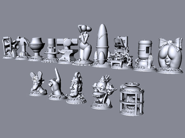 Pencil Pusher  3d printed This image shows the relative size of all models in the collection.