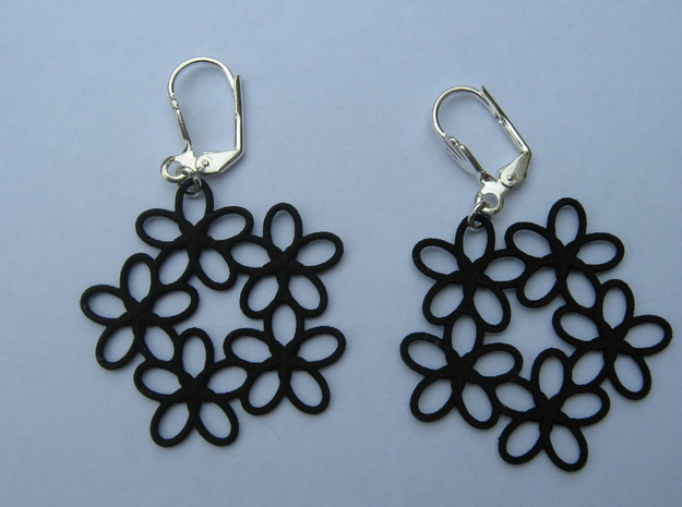 Five Conchoid Earrings in Black Natural Versatile Plastic