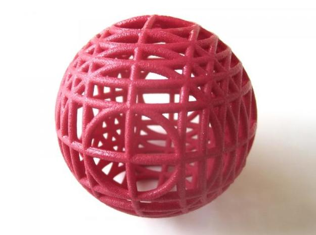 MegaWireSphere 3d printed In winter red strong and flexible (and manually varnished)