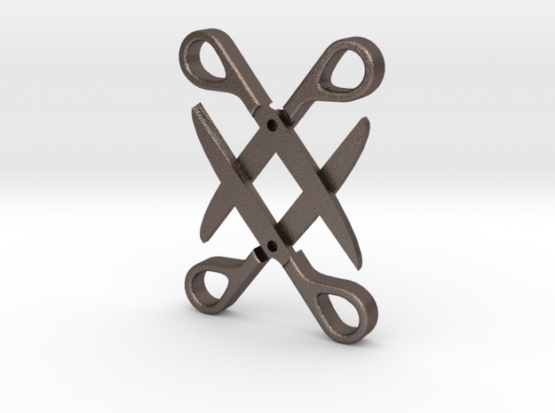 Sapphic: Scissor pendant in Polished Bronzed Silver Steel