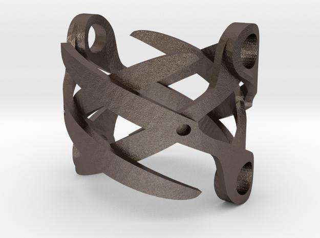 Sapphic: ScissorRing size 8 in Polished Bronzed Silver Steel