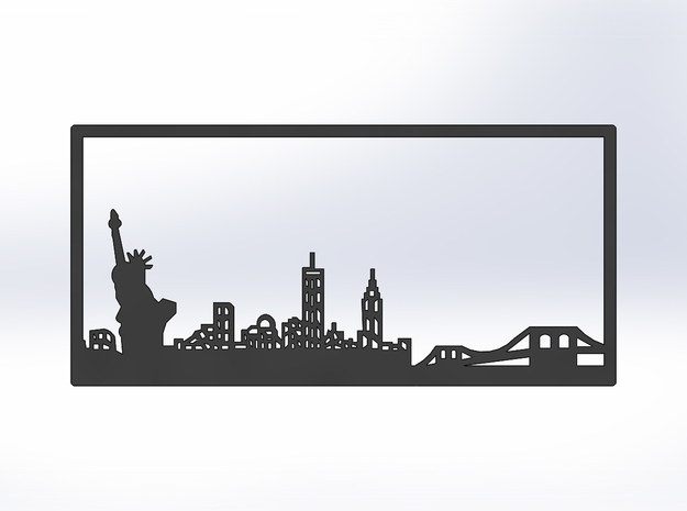 New York Skyline - Bookend in White Natural Versatile Plastic