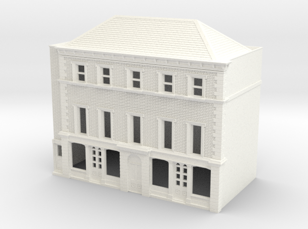 N Scale Rye High Street building 1:148 in White Strong & Flexible Polished