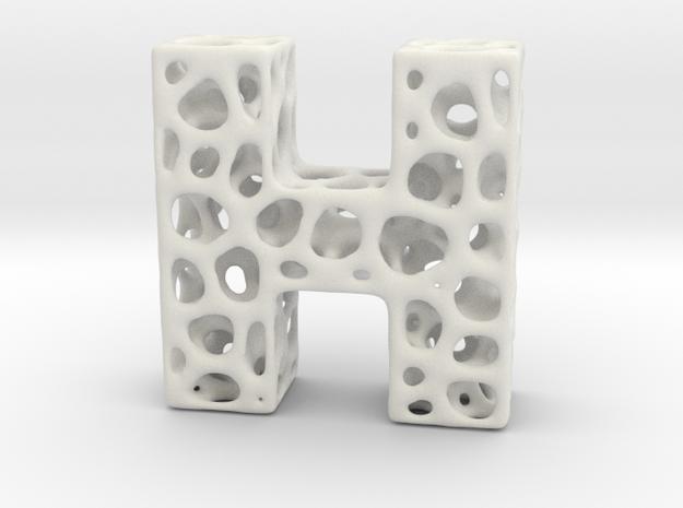 Voronoi Letter ( alphabet ) H in White Natural Versatile Plastic