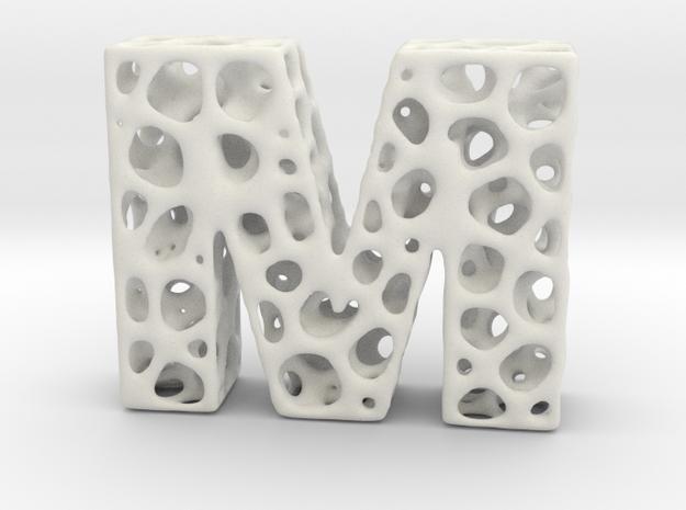 Voronoi Letter ( alphabet ) M in White Natural Versatile Plastic