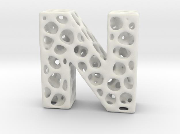 Voronoi Letter ( alphabet ) N in White Strong & Flexible