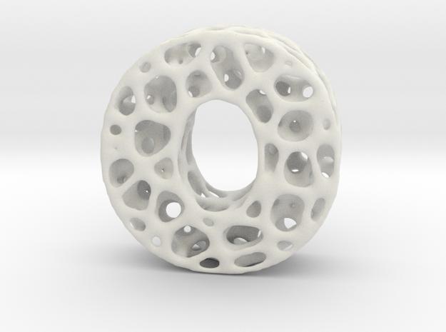 Voronoi Letter ( alphabet ) O in White Natural Versatile Plastic