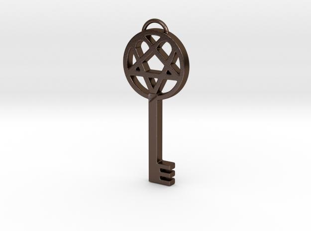 Key of Dark Light (Heartagram skelton key) in Polished Bronze Steel