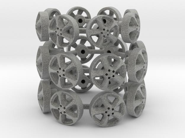 1:43 Scale model wheels in Metallic Plastic