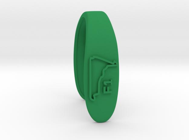 F1  #B RACE TRACK KEY FOB  in Green Processed Versatile Plastic