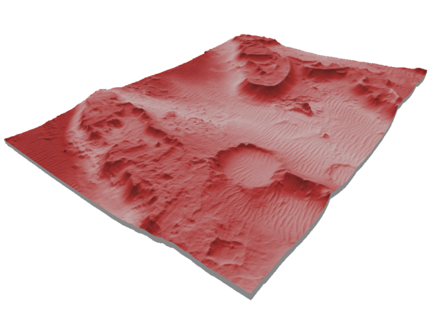 Mars Map: Martian Meanders - Red in Matte Full Color Sandstone