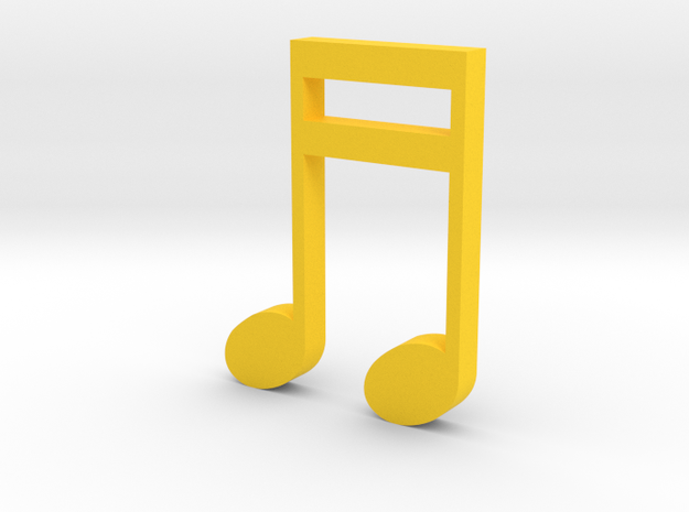 Music Pendant - 2 Sixteenth Notes in Yellow Processed Versatile Plastic