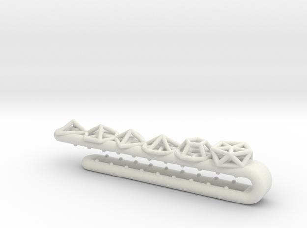 Geometric Tie Clip in White Natural Versatile Plastic