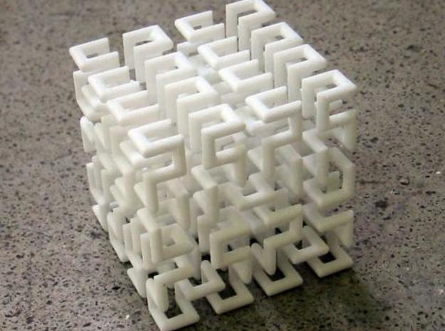 Hilbert Curve 3d printed IRL. Since the model is just a single loop of material, this one is a bit springy.