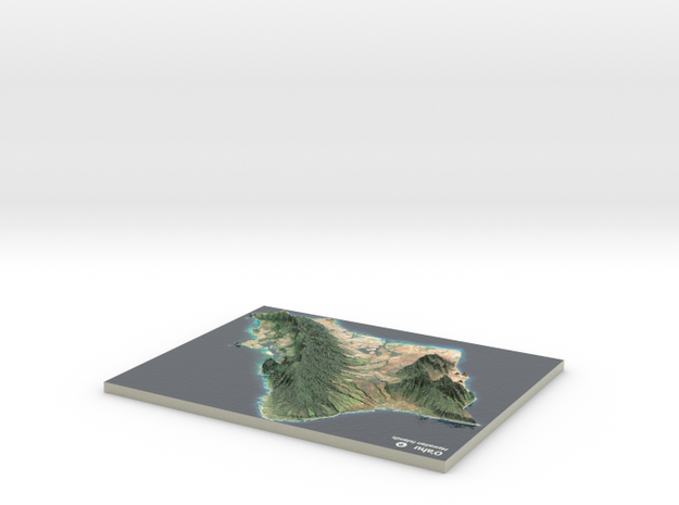 Oahu Map, Hawaiian Islands in Coated Full Color Sandstone