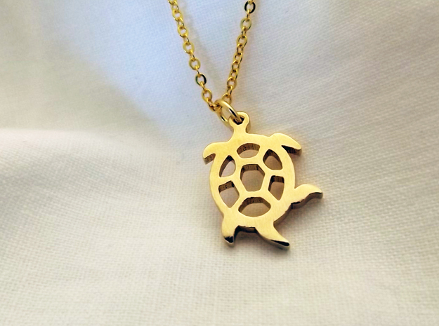 Squirmy Turtle™ Charm in Natural Brass