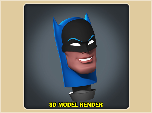 1:9 Scale Batman Head in White Strong & Flexible Polished