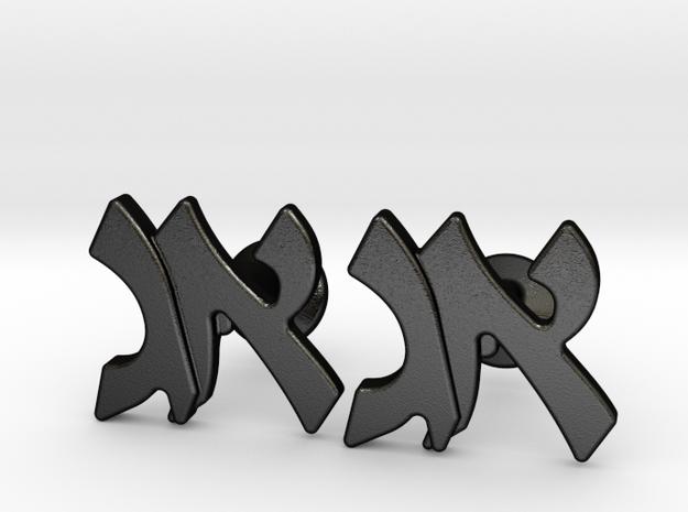 "Hebrew Monogram Cufflinks - ""Aleph Gimmel"" in Matte Black Steel"