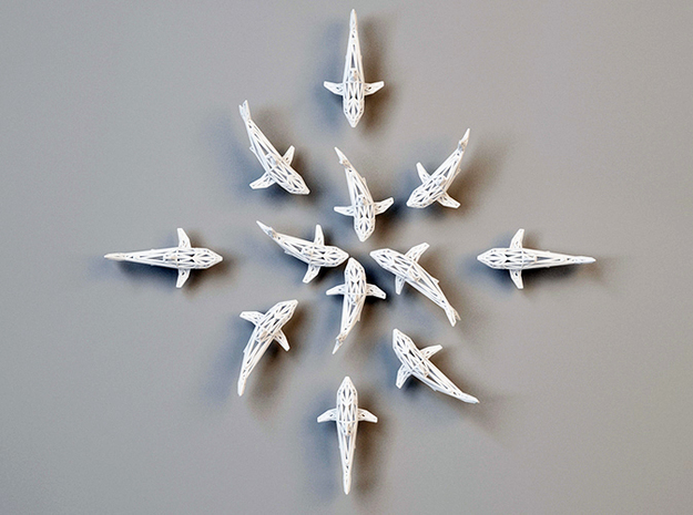 "wall decoration "" 6 Sharks"" in White Natural Versatile Plastic"