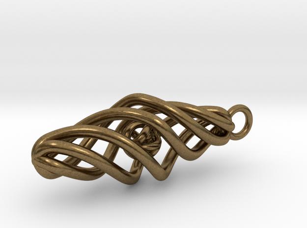 Ball in Cage Pendant in Interlocking Raw Bronze: Small