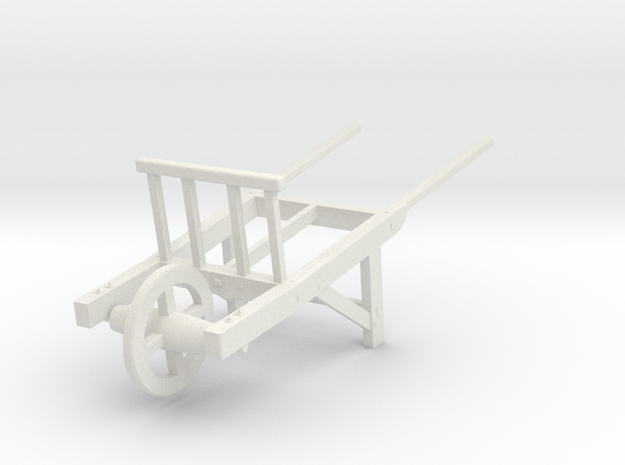 18th Century Utility Wheelbarrow 1/24 in White Strong & Flexible