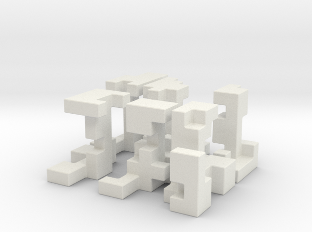 Cubed Burr II 6 cm version in White Strong & Flexible