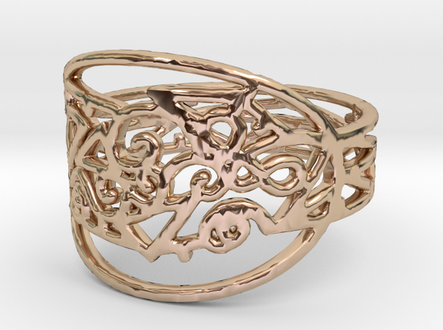 Freaky Ring Design Ring Size 7 in 14k Rose Gold Plated Brass
