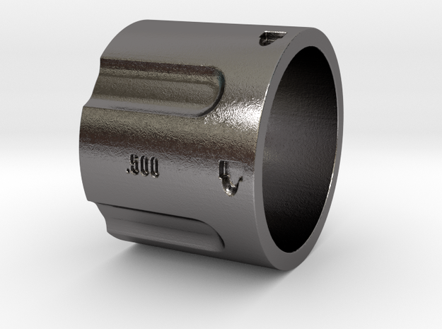 500 5-Shot Revolver Cylinder, Ring Size 10 in Polished Nickel Steel