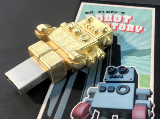 "Gold USB Robot Drive, ""Bling Bob"" 3d printed Look at me, Im Polished Gold Steel... blingtastic."