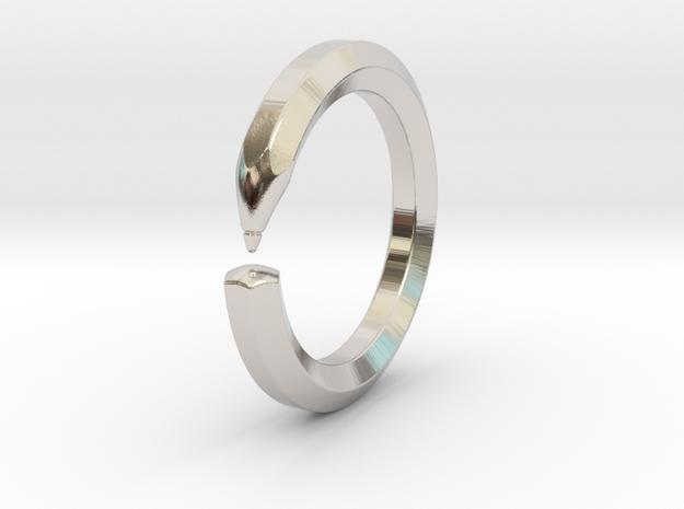 Herbert S. - Pencil Ring in Rhodium Plated Brass: 6 / 51.5