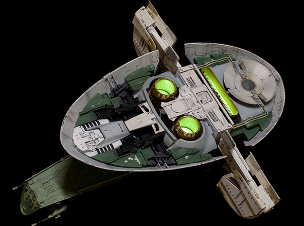 Fine Molds 1/72 Slave 1 Thruster 3d printed Sanded and Painted Part on completed model