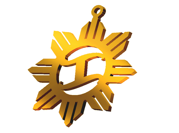 The Katipunan Sun of Freedom pendant in Polished Brass
