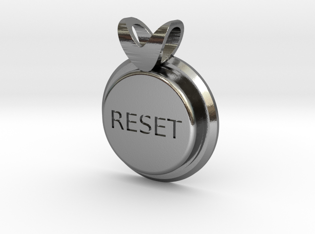 Press Reset necklace pendant in Polished Silver