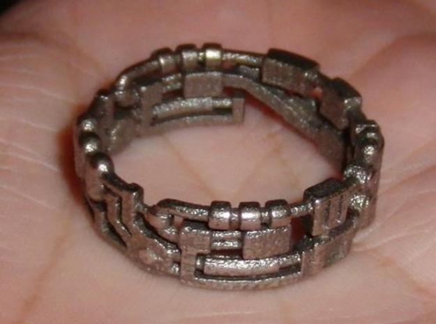 Mecha Ring (size 15ish in metal) in White Strong & Flexible