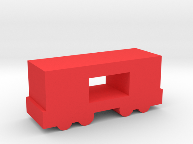 Game Piece, Freight Train Box Car, Open in Red Processed Versatile Plastic