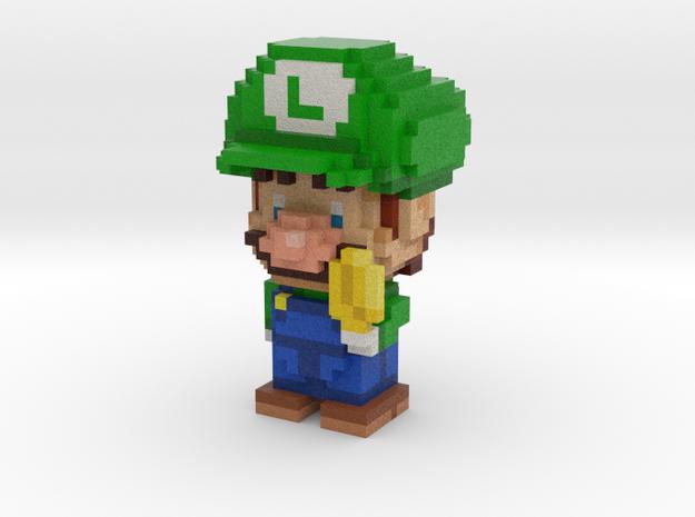 Super Plumber Green Bro Voxel Figurine in Full Color Sandstone