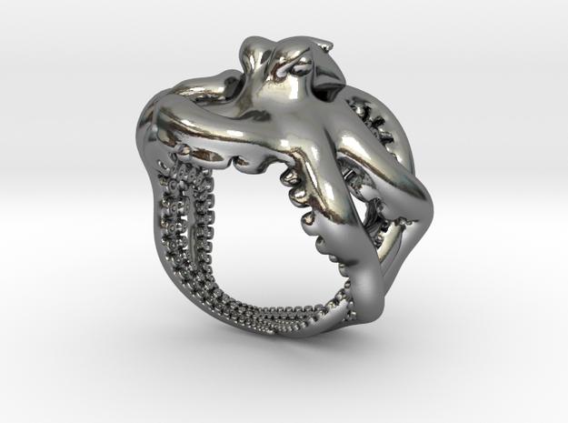 Octopus Ring2 20mm in Polished Silver