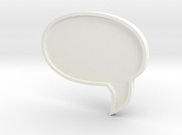 COMIC MESSAGE BUBBLE  in White Processed Versatile Plastic