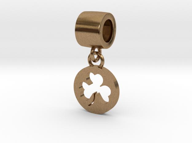 Pandora Style Clover Charm in Interlocking Raw Brass