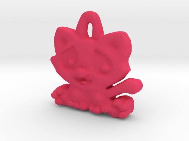 Kittyou tag/pendant in Pink Processed Versatile Plastic