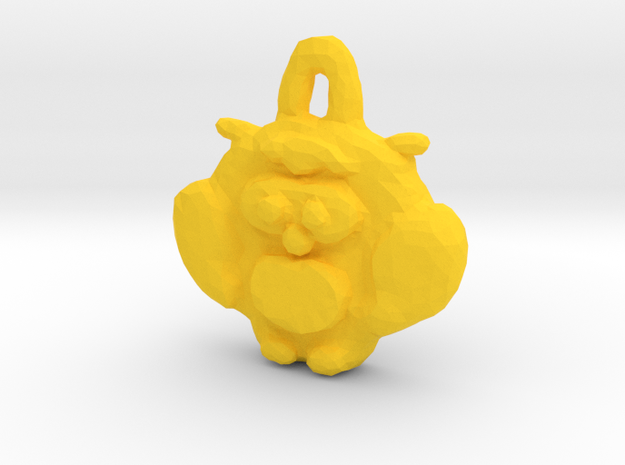 Owl shaped tag/pendant in Yellow Processed Versatile Plastic