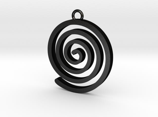 Spiral Pendant in Matte Black Steel