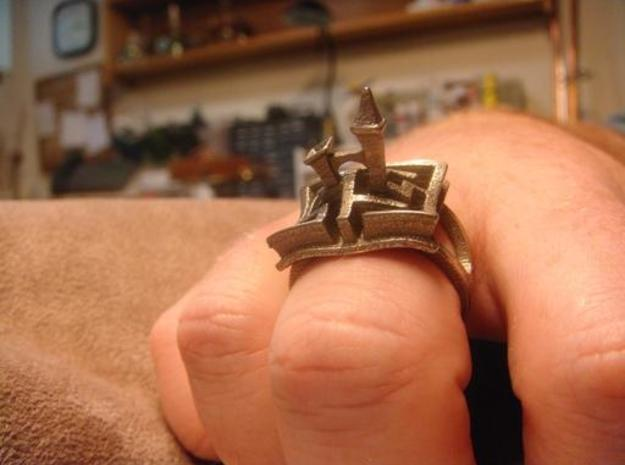 A Maze Ring Tower 3d printed on my hand