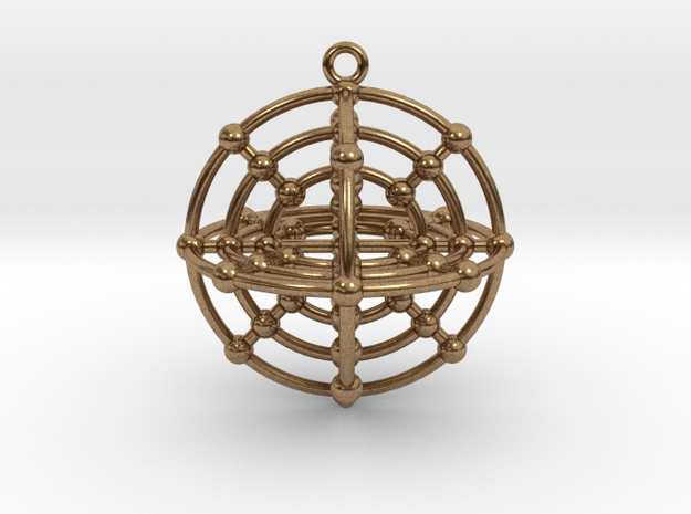 Six Medicine Wheel 3D in Raw Brass